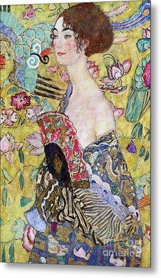 Lady With A Fan Metal Print by Gustav Klimt