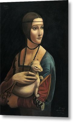 Lady With Ermine - Pastel Metal Print