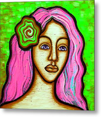 Lady With Green Flower-pink Metal Print by Brenda Higginson