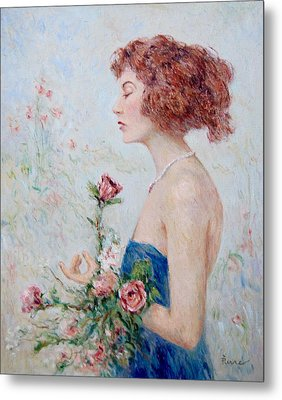 Lady With Roses  Metal Print