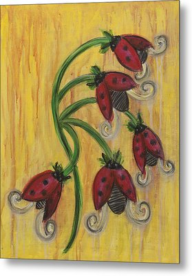 Ladybug Flowers Metal Print by Kristen Fagan