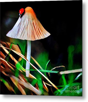 Ladybug On Mushroom Metal Print