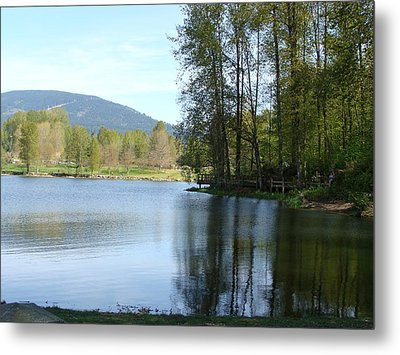 Metal Print featuring the painting Lafarge Lake Serenity by Rod Jellison
