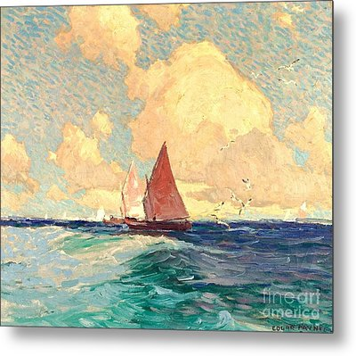 Yachting At Laguna Beach California 1921 Metal Print
