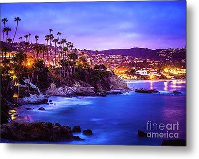Laguna Beach California City At Night Picture Metal Print