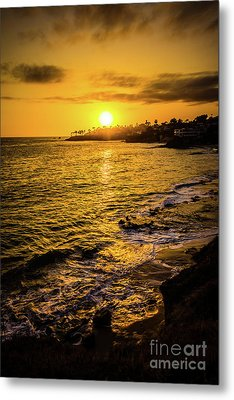 Laguna Beach Sunset Picture At Shaw's Cove Metal Print