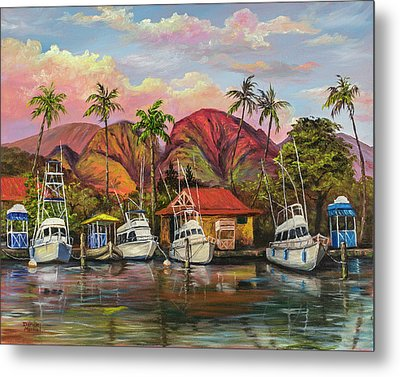 Metal Print featuring the painting Lahaina Harbor Sunset by Darice Machel McGuire