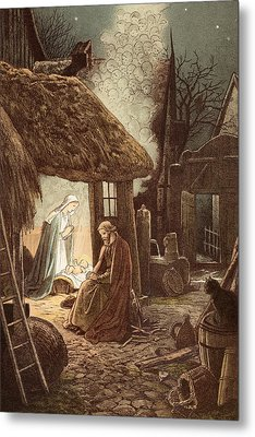 Laid In A Manger Metal Print by Victor Paul Mohn