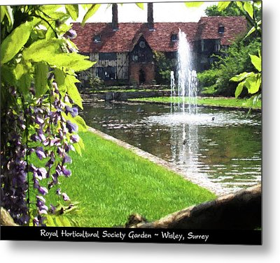 Lake And Fountain At Rhs Wisley Metal Print by Jayne Wilson