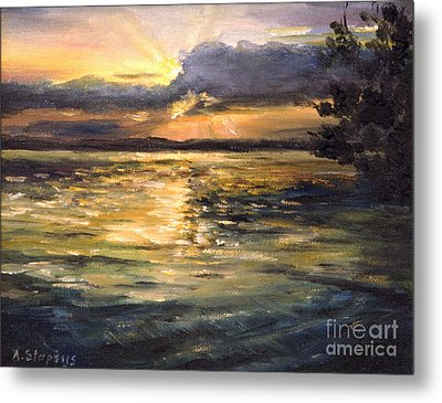 Metal Print featuring the painting Lake by Arturas Slapsys