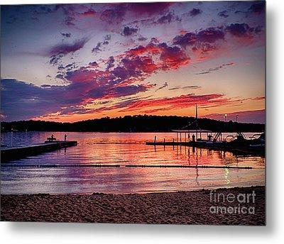 Lake Beach Sunset Metal Print by Mark Miller