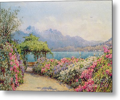 Lake Como From The Villa Carlotta Metal Print by Ernest Arthur Rowe