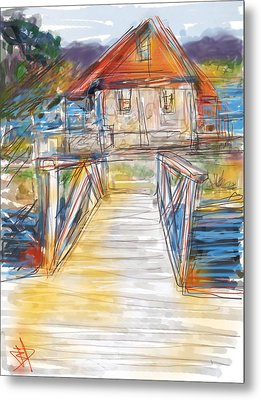 Lake House Metal Print by Russell Pierce