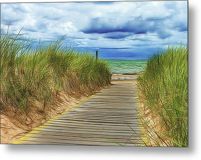 Metal Print featuring the photograph Lake Huron Boardwalk by Bill Gallagher