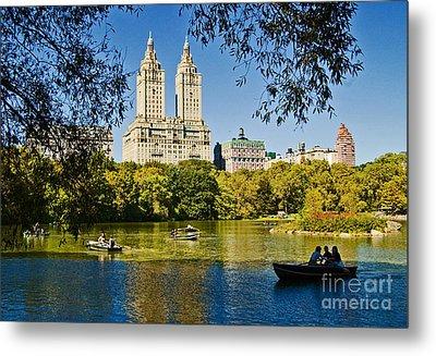 Lake In Central Park Metal Print by Allan Einhorn
