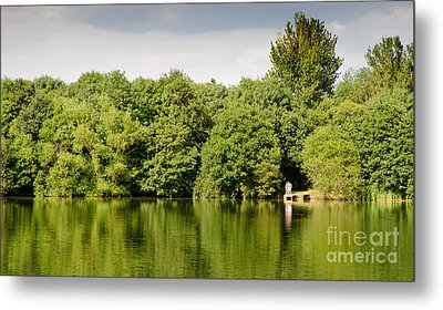 Lake Jetty Dinton Pastures Lakes And Nature Reserve Shore Line Metal Print by Andy Smy