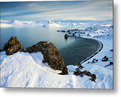 Metal Print featuring the photograph Lake Kleifarvatn Iceland In Winter by Matthias Hauser
