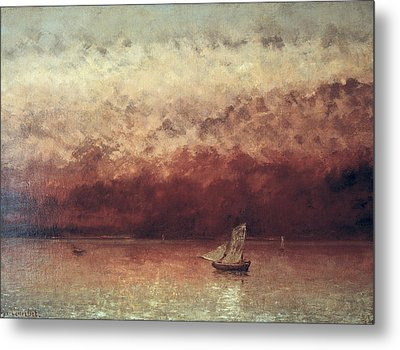 Lake Leman With Setting Sun Metal Print