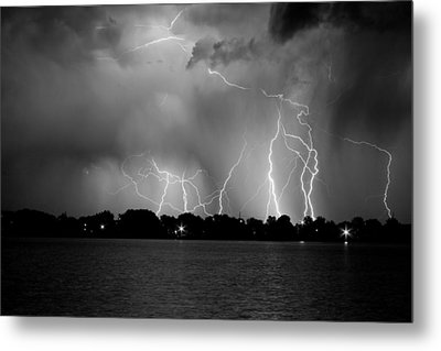 Lake Lightning Two Bw Metal Print by James BO  Insogna