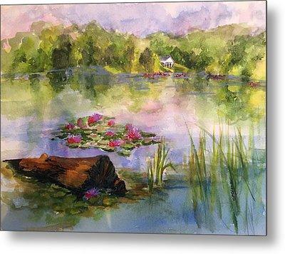 Lake Logan, Lily Pads Metal Print by Donna Pierce-Clark