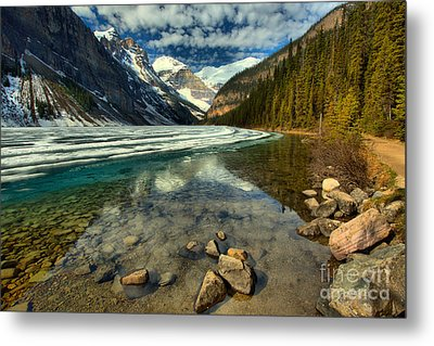 Lake Loise Icy Spring Reflections Metal Print
