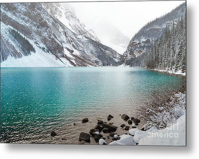 Lake Louise Mountain Snow Forest Landscape Metal Print by Andrea Hazel Ihlefeld