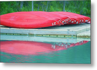 Lake Louise Red Canoes Painterly Metal Print by Joan Carroll