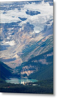 Lake Louise With The Victoria Glacier Metal Print by George Oze