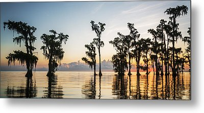 Lake Maurepas Sunrise Metal Print by Andy Crawford