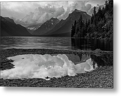 Lake Mcdonald Sunset In Black And White Metal Print