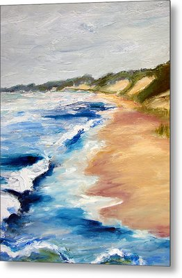 Lake Michigan Beach With Whitecaps Detail Metal Print by Michelle Calkins
