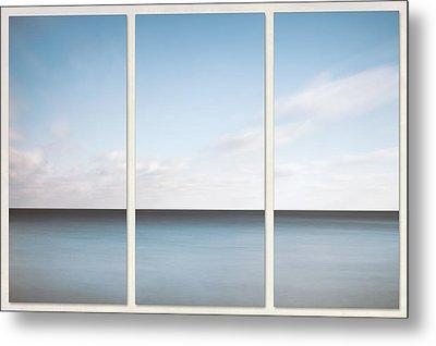Lake Michigan Minimalist Triptych Metal Print by Scott Norris