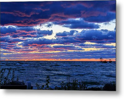 Lake Michigan Windy Sunrise Metal Print by Joni Eskridge