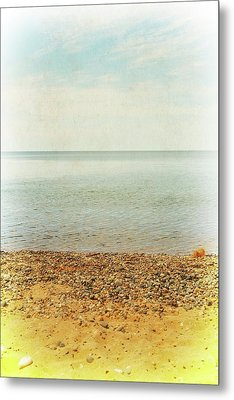 Lake Michigan With Stony Shore Metal Print by Michelle Calkins