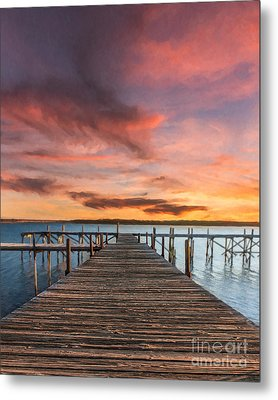 Lake Murray Lodge At Sunrise Metal Print by Tamyra Ayles