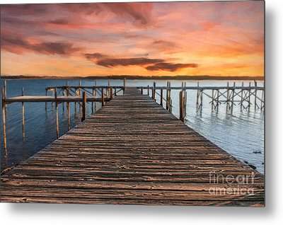 Lake Murray Lodge Pier At Sunrise Landscape Metal Print by Tamyra Ayles
