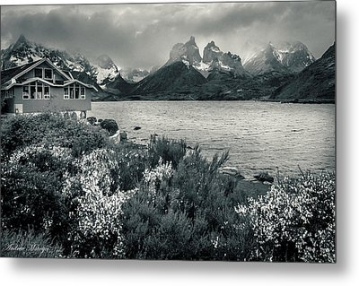 Metal Print featuring the photograph Lake Pehoe In Black And White by Andrew Matwijec
