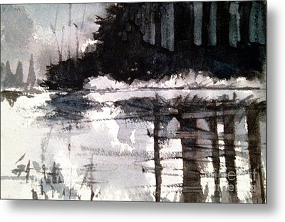 Metal Print featuring the painting Lake Placid Black And White Study by Charlie Spear