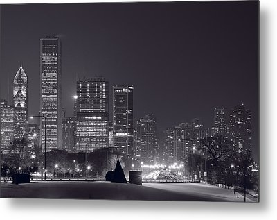 Lake Shore Drive Chicago B And W Metal Print by Steve Gadomski