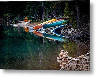 Kayaks At Rest Metal Print by Menachem Ganon