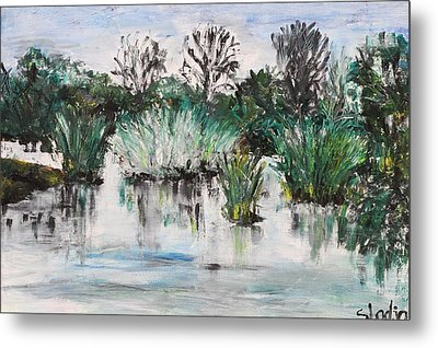 Metal Print featuring the painting Lake by Sladjana Lazarevic