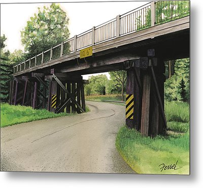 Metal Print featuring the painting Lake St. Rr Overpass by Ferrel Cordle