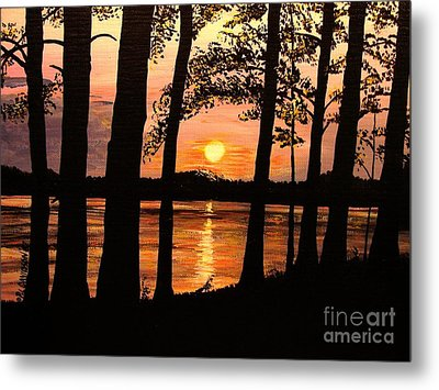Metal Print featuring the painting Lake Sunset by Patricia L Davidson