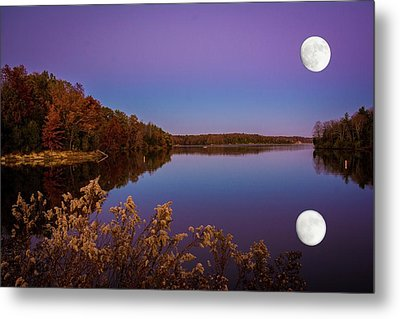 Lake Super Moon Reflection Metal Print
