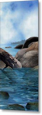 Lake Tahoe With Wooden Boat Metal Print by Julie Rodriguez Jones