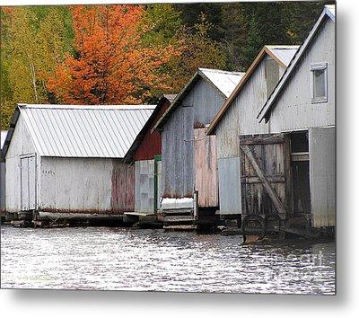 Lake Vermillion Boathouses Metal Print by Li Newton
