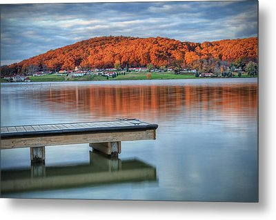 Metal Print featuring the photograph Autumn Red At Lake White by Jaki Miller
