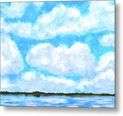 Lakeside Blue - Georgia Abstract Landscape Metal Print