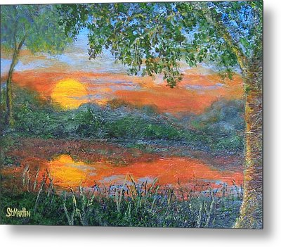 Lakeside Sunset Metal Print by Annie St Martin