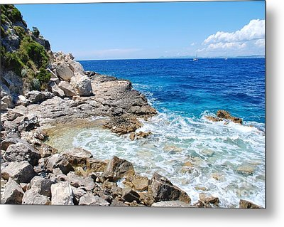 Lakka Coastline On Paxos Metal Print